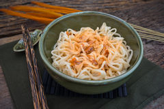 Homemade Quick Ramen Noodles with seasoning chilli Royalty Free Stock Photos