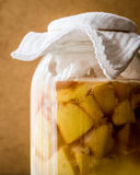 Homemade Quince vinegar or juice in bottle. Stock Photos