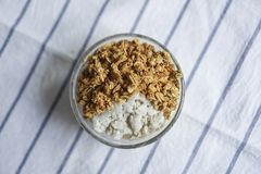 A bowl of healthy parfait, homemade granola. royalty free stock photography