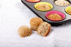 Homemade quinoa muffins royalty free stock images