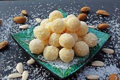 Homemade raffaello balls. stock image