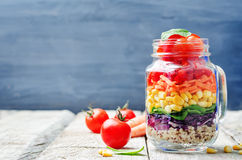 Homemade rainbow salad with vegetables and quinoa Stock Image
