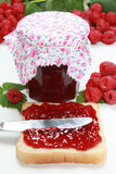 Homemade raspberry jam Stock Photos