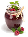Homemade raspberry jam and fresh raspberries Stock Image
