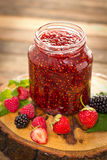 Homemade raspberry jam in the jar Stock Photo