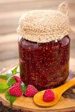 Homemade raspberry jam in the jar Royalty Free Stock Images