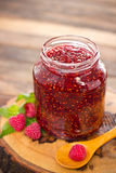 Homemade raspberry jam in the jar Royalty Free Stock Photos
