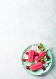 Homemade Raspberry popsicles Royalty Free Stock Photos