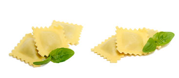 Homemade Ravioli. Delicious looking homemade ravioli, isolated on a white background Stock Photos