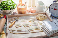 Homemade ravioli made of spinach and ricotta Stock Image