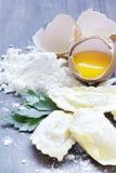 Homemade ravioli with mushrooms shimeji and fresh herbs Royalty Free Stock Images