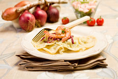 Homemade Ravioli with Shrimps Stock Photos