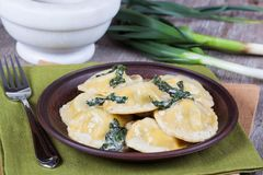 Homemade ravioli stuffed with ricotta and spinach. In a plate Royalty Free Stock Photography
