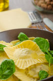 Homemade ravioli stuffed with spinach and ricotta Stock Photos
