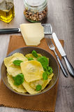 Homemade ravioli stuffed with spinach and ricotta Royalty Free Stock Image