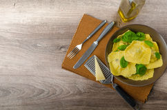 Homemade ravioli stuffed with spinach and ricotta Stock Photography