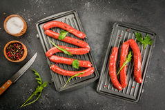 Homemade raw beef sausages Royalty Free Stock Photography