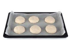 Homemade raw bun for burger Stock Photos