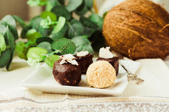 Homemade raw chocolate candy, bounty, Raffaello.Healthy vegan d. Homemade raw chocolate candy, bounty, Raffaello. Healthy vegan dessert.Healthy lifestyle and raw royalty free stock images