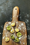 Homemade raw Italian tortellin Stock Photo