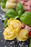 Homemade raw Italian tortellini with ham and cheese Stock Image