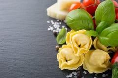 Homemade raw Italian tortellini with ham and cheese Royalty Free Stock Image