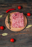 Homemade raw minced meat with herbs closeup Stock Photo