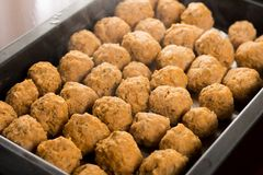 Homemade raw minced meat meatballs on the baking tray.  Royalty Free Stock Photography