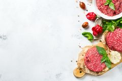 Homemade raw organic minced beef meat burger cutlet and vegetables Royalty Free Stock Image