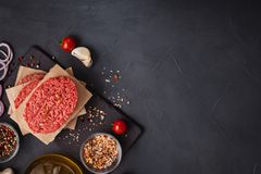 Homemade Raw Organic Minced Beef Meat Steak Royalty Free Stock Photos