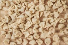Homemade Raw Ravioli on a Table Royalty Free Stock Photography
