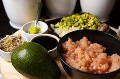 Homemade raw salmon tartar Stock Photography
