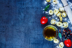 Homemade raw tortellini Stock Photography