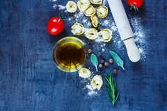 Homemade raw tortellini Stock Images