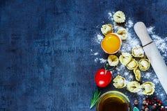Homemade raw tortellini Stock Photo