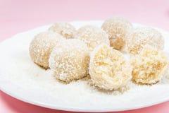 Homemade Raw Vegan Coconut and Lemon Truffles stock images