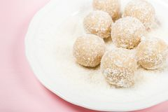 Homemade Raw Vegan Coconut and Lemon Truffles royalty free stock photos