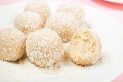 Homemade Raw Vegan Coconut and Lemon Truffles stock image