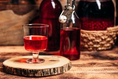 Homemade red currant liquor royalty free stock photo