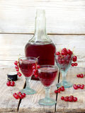 Homemade red currants liquor stock images