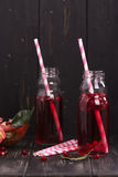 Homemade red pomegranate lemonade in small glass bottles Royalty Free Stock Photography