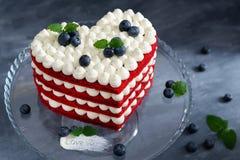 Free Homemade Red Velvet Cake In Heart Shape For St. Valentine`s Day. Romantic Present. Sweet Valentine. Stock Images - 168789764