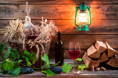 Homemade red wine stored in the cellar Stock Photo