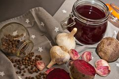 Homemade redbeet soup making process and ingredients Stock Image