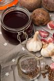 Homemade redbeet soup making process and ingredients Stock Photo