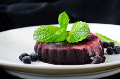 Homemade refreshing organic blueberry sorbet on a white plate with mint. On black background stock photos