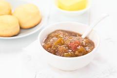 Homemade Rhubarb Jam in Bowl Royalty Free Stock Photo