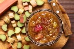 Homemade Rhubarb Jam in Jar Stock Image