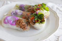 Homemade rice paper rolls with edible flowers. On white plate Stock Images