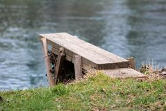 Homemade river diving board made from planks Stock Photo